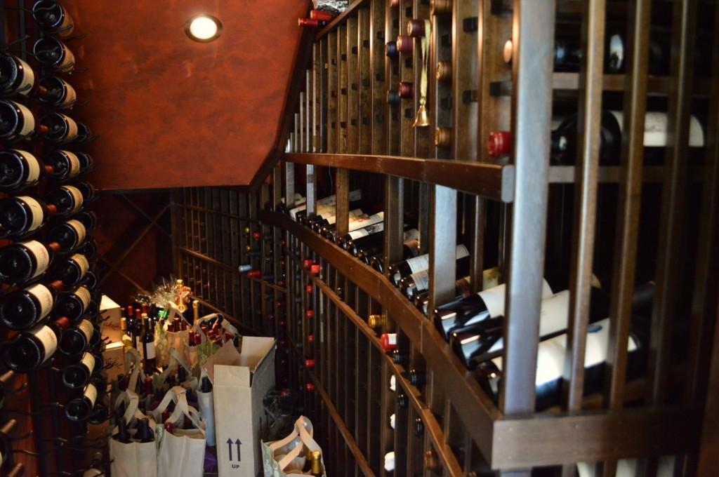Mahogany Wine Racks - Coto de Caza Residential Wine Cellar
